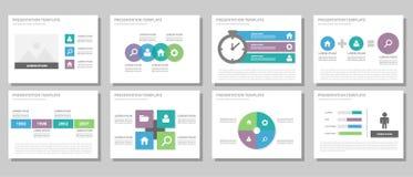 Błękitnych purpur i zielonego wielocelowego broszurki ulotki ulotki strony internetowej szablonu płaski projekt Obrazy Royalty Free