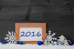 Błękitnych szarość Bożenarodzeniowa dekoracja, śnieg, 2016 Obrazy Royalty Free