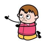 Błagać na kolanie - nastolatek kreskówki chłopiec wektoru Gruba ilustracja ilustracji