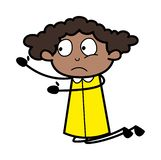 Błagać - Retro Czarna Biurowej dziewczyny kreskówki wektoru ilustracja ilustracja wektor