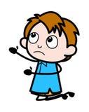 Błagać - Szkolnej chłopiec postaci z kreskówki wektoru ilustracja royalty ilustracja