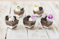 Błahostki czarny i biały czekolada z ciastkiem, słodki deser Zdjęcie Stock