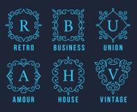 Bławi monogramów logowie Ustawiający Zdjęcie Stock