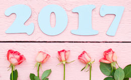 Bławy 2017 i jaskrawe róże Obrazy Stock