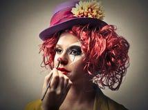 Błazenu kładzenie na niektóre makijażu Obraz Stock