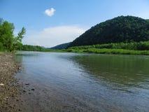 Błogi krajobraz halny rzeczny Tisza Tisa w pobliżu Khust w Transcarpathia, Ukraina obraz royalty free
