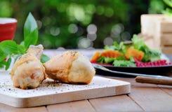 Błogi zdrowy posiłek w ogródzie; Piec chickhen drumsticks i kolorową sałatki z bokeh zieleni tłem fotografia stock