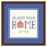 Błogosławi To Domowa broderia, drewno rama ilustracji