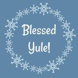 Błogosławiony Yule literowanie w zim płatek śniegu wianku ilustracji