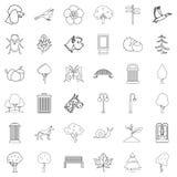 Błonie ogrodowe ikony ustawiać, konturu styl ilustracja wektor