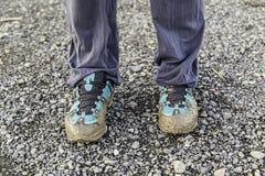 błotniści buty Zdjęcia Stock