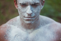 Błoto twarzy brudny mężczyzna obraz royalty free