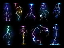 Błyskawica błysku grzmotu wektorowa burza z burzą lub piorun ilustracją rozblaskowego światła i elektryczności ilustracji