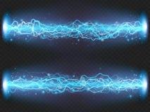 Błyskawica błysku rozładowanie elektryczność na przejrzystym tle Błękitny elektryczny wizualny skutek 10 eps royalty ilustracja