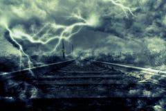 Błyskawica nad linią kolejową Obrazy Royalty Free