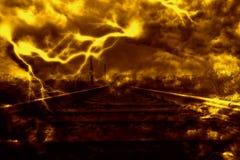 Błyskawica nad linią kolejową Fotografia Stock