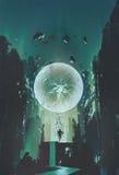 Błyskawicowa piłka i geometria w postaci istoty ludzkiej z budynku tłem Zdjęcia Royalty Free