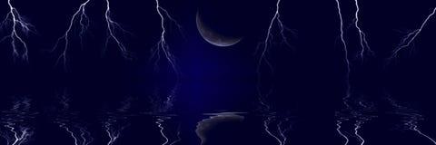 Błyskawicowi rygle i księżyc royalty ilustracja