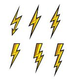 Błyskawicowy piorun ikony wektor Błyskowa symbol ilustracja Oświetleniowe Błyskowe ikony Ustawiać Mieszkanie styl na białym tle i Obraz Stock