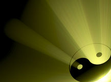 błyski światła słońca symbolu yin Yang ilustracji