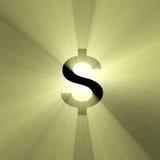 błyski światła waluty dolarowy znak ilustracja wektor