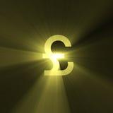 błyski światła waluty funty znak Zdjęcia Stock