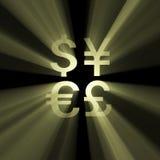 błyski światła waluty pieniądze znak słońca ilustracji
