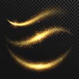 Błyskotania stardust Złoty błyskotliwy magiczny wektor macha z złocistymi cząsteczkami odizolowywać ilustracja wektor