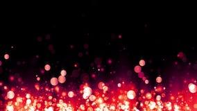Błyskotliwe powstające czerwone cząsteczki Tło z błyszczącymi cząsteczkami Piękny bokeh światła tło Czerwoni confetti Bezszwowa p ilustracja wektor