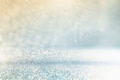 Błyskotliwość Zaświeca Tło błękit srebro obrazy stock