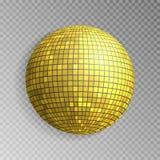 Błyskotliwości dyskoteki piłki wektor Złoty mirrorball odizolowywający Discoball połysku lekki skutek Noc klubu deco ilustracji