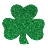 Błyskotliwości Shamrock koniczyna odizolowywająca na bielu. St. Patrick dzień. Fotografia Royalty Free
