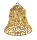 Błyskotliwości złocista Bożenarodzeniowego dzwonu zabawka, odosobniona na biel Fotografia Stock