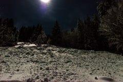 Błyskotliwy śnieg w blask księżyca zdjęcie royalty free