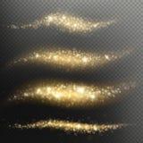 Błyskotliwy shimmer cząsteczek światła ślad dla bożych narodzeń lub nowego roku wakacje Złoty błyskotliwość confetti fali narzuty royalty ilustracja