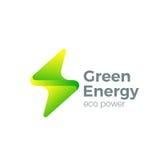 Błyskowy loga piorunu symbol Zielona Energetyczna władza Obraz Royalty Free