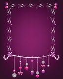 Błyszcząca boże narodzenie rama z obwieszenie ornamentami. Zdjęcia Stock