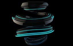 Błyszcząca czarna abstrakt spirali forma z błękitnymi jarzy się lampasami ilustracji