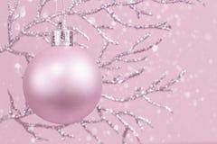 Błyszcząca gałąź z różowym Bożenarodzeniowym bauble monochromem z śniegiem, kopii przestrzeń obraz royalty free