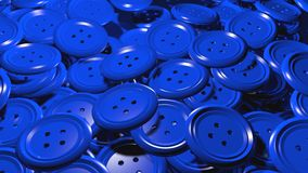 Błyszcząca grupa plastikowy błękitny guzik odziewa Zdjęcie Stock