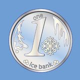 Błyszcząca srebna round moneta Z płatkiem śniegu wektor Zima pieniądze boże narodzenie nowy rok Obrazy Stock