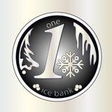 Błyszcząca srebna round moneta Z płatkiem śniegu wektor Zima pieniądze boże narodzenie nowy rok Obraz Royalty Free