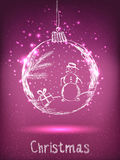 Błyszcząca Xmas piłka z bałwanem dla Wesoło bożych narodzeń i Szczęśliwego nowego roku świętowania ilustracji