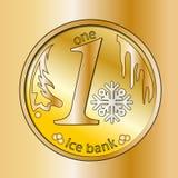 Błyszcząca złocista round moneta Z płatkiem śniegu Zima pieniądze boże narodzenie nowy rok Obraz Stock