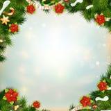 Błyszcząca zielona sosna z kwiatem poinsecja 10 eps Obraz Stock