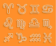 Błyszczące białe zodiak ikony na Pomarańczowym tle Zdjęcie Stock