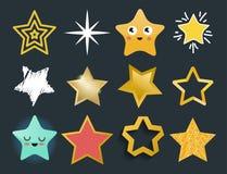 Błyszczące gwiazdowe ikony w różnej stylowej śpiczastej pięciobocznej złocistej nagrody abstrakcjonistycznym projekcie doodle noc Zdjęcia Royalty Free