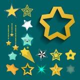 Błyszczące gwiazdowe ikony w różnej stylowej śpiczastej pięciobocznej złocistej nagrody abstrakcjonistycznym projekcie doodle noc Fotografia Stock
