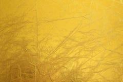 Błyszczącego metalu tekstury żółty tło wzór metaliczny Zdjęcie Stock