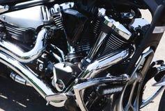 Błyszczącego władza chromu motocyklu parowozowy blok Zdjęcia Stock